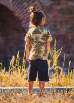 Çocuk Desenli Rahat Kesim Erkek Gömlek