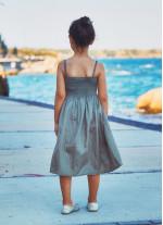 Çocuk Askılı Günlük Haki Elbise