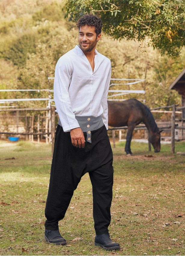 Siyah Bohem Tarz Şık Şalvar Erkek Pantolon