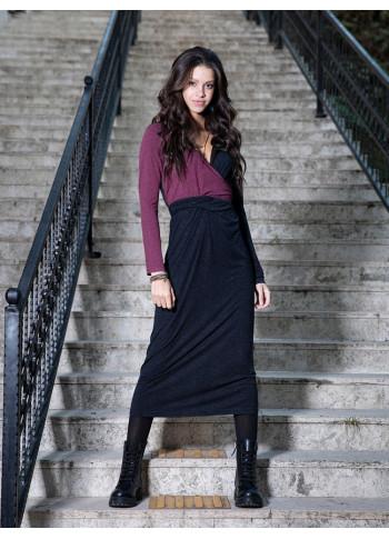 Bağcıklı V Yaka Uzun Siyah Elbise