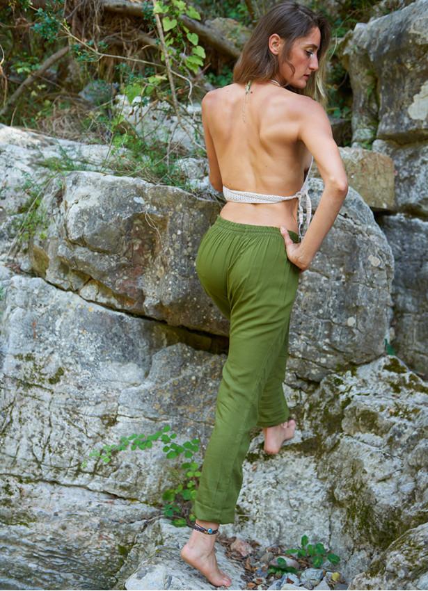 Bohem Belden Kuşak Bağlamalı Kruvaze Haki Pantolon