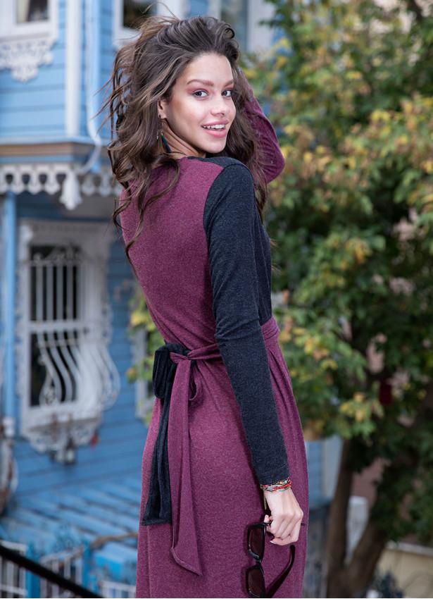 Bağcıklı V Yaka Uzun Bordo  Elbise