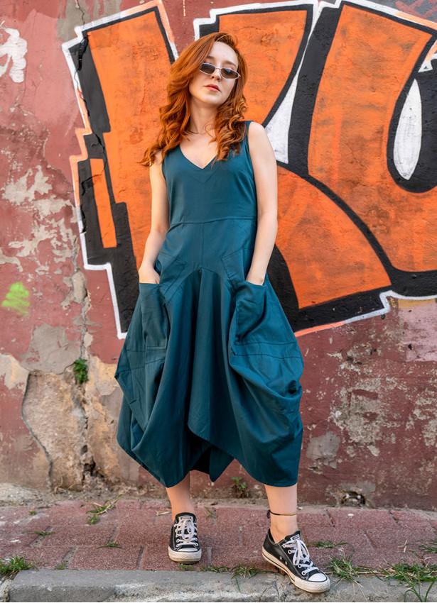 Bohem Tarz V Yaka Cepli Balon Etekli Petrol Elbise