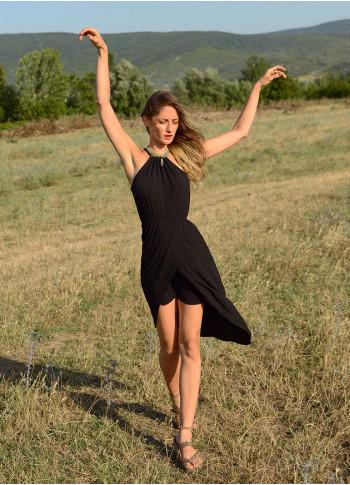 Halter Yaka Anvelop Askılı Siyah Elbise
