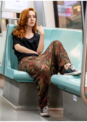Otantik Desenli Fermuarlı Modern Şalvar Pantolon