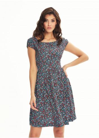 Sırtı Açık Kısa Turkuaz Dağ Çiçeği Elbise