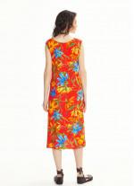 Çiçek Desenli Kırmızı Ön ve Arka Bağlama Kayık Yaka Elbise