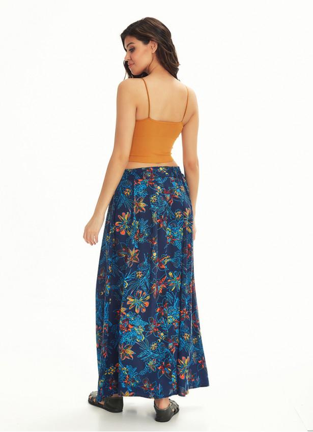 Mavi Çiçekli Pileli Beli Lastikli Cepli Uzun Etek