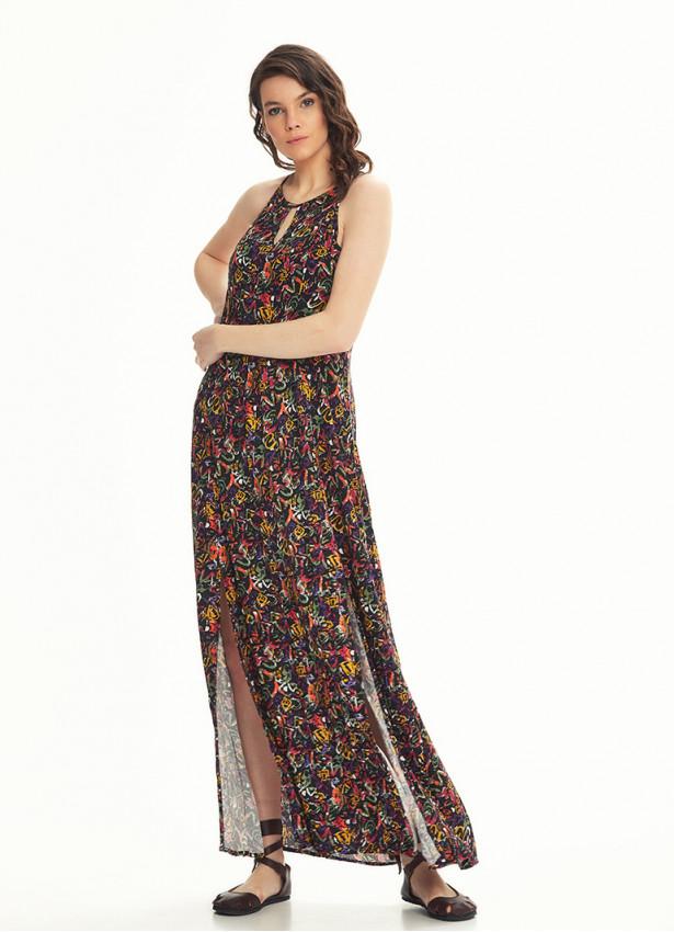 Etnik Desenli Dekolteli Ön Yırtmaçlı Picasso Desen Elbise