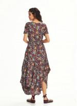 Çiçek Desenli Cepli Yarım Kollu Uzun Turkuaz Çiçekli Elbise