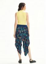 Lacivert Desenli Yırtmaçlı Dökümlü Kadın Şalvar Pantolon