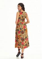 Otantik Tunik Bej Çiçekli Elbise