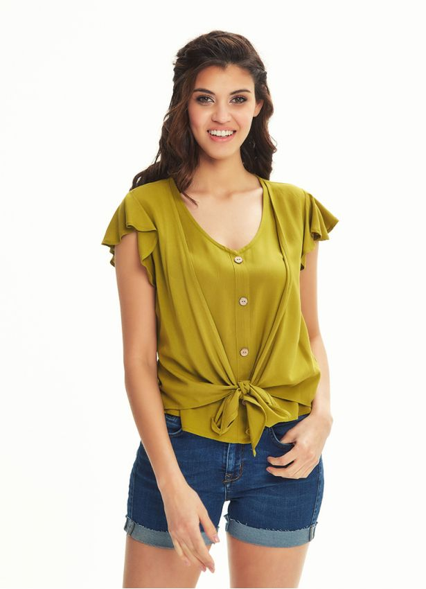 Volanlı Bağlamalı Olive Bluz
