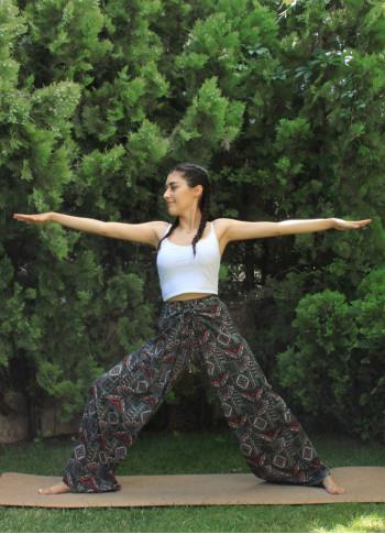 Etnik Bilmece Yeşil Desenli Yoga Pantolon