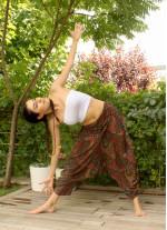 Drape Bel Dökümlü Kahve Şalvar Yoga Pantolon