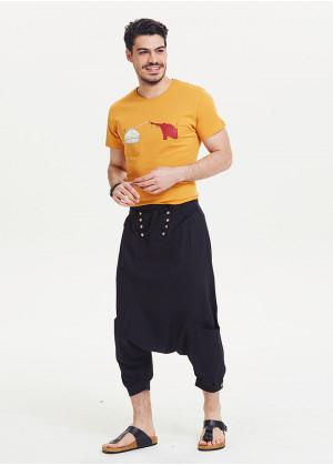 Bağcıklı Cepli Kapri Erkek Siyah Şalvar Pantolon