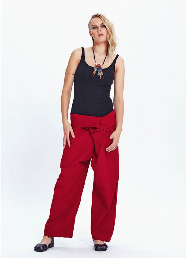 Bol Kesim Beli Bağlamalı Kırmızı Balıkçı Pantolon