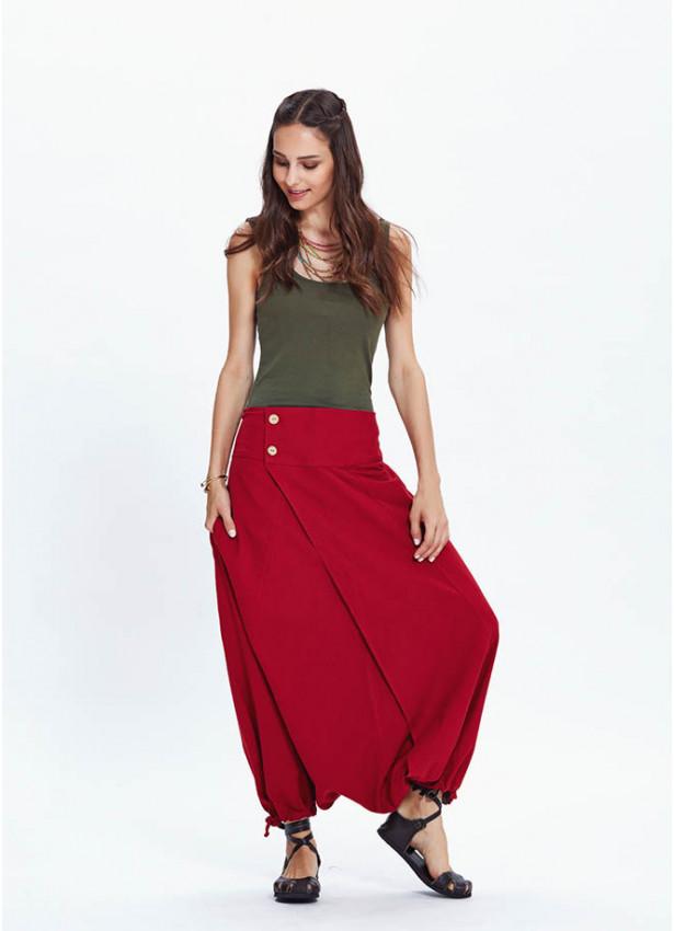 Etnik Desenli Cepli Kırmızı Şalvar Pantolon