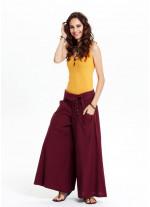 Düşük Bel Düğme Detaylı Bol Paça Bordo Pantolon
